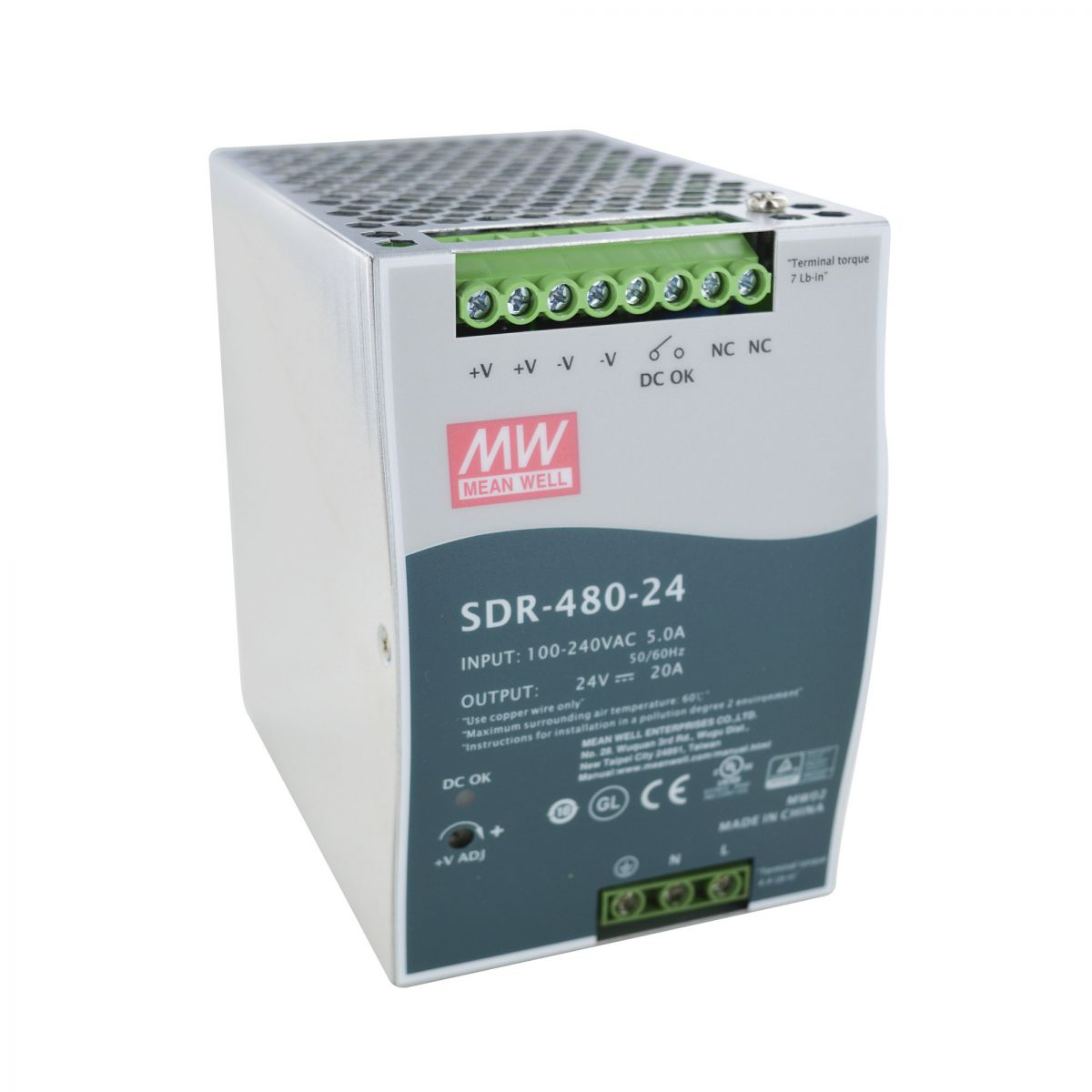 stromversorgung meanwell sdr480 24v dc 20a powerboost ohne gehuse
