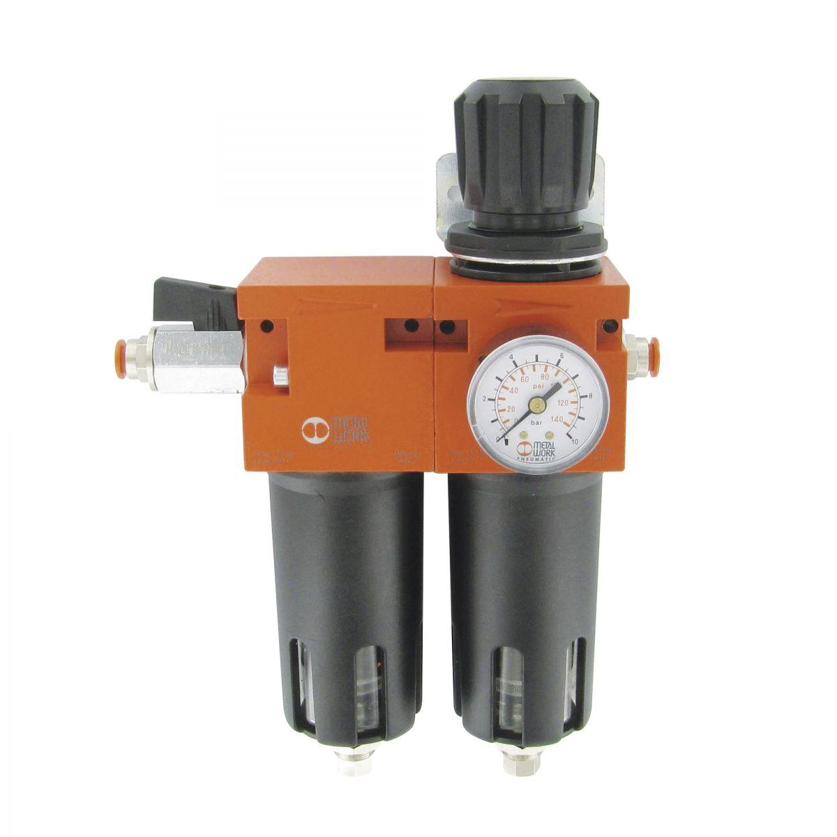 drukregelaar met dubbel filter vochtvanger en automatische wateraflaat