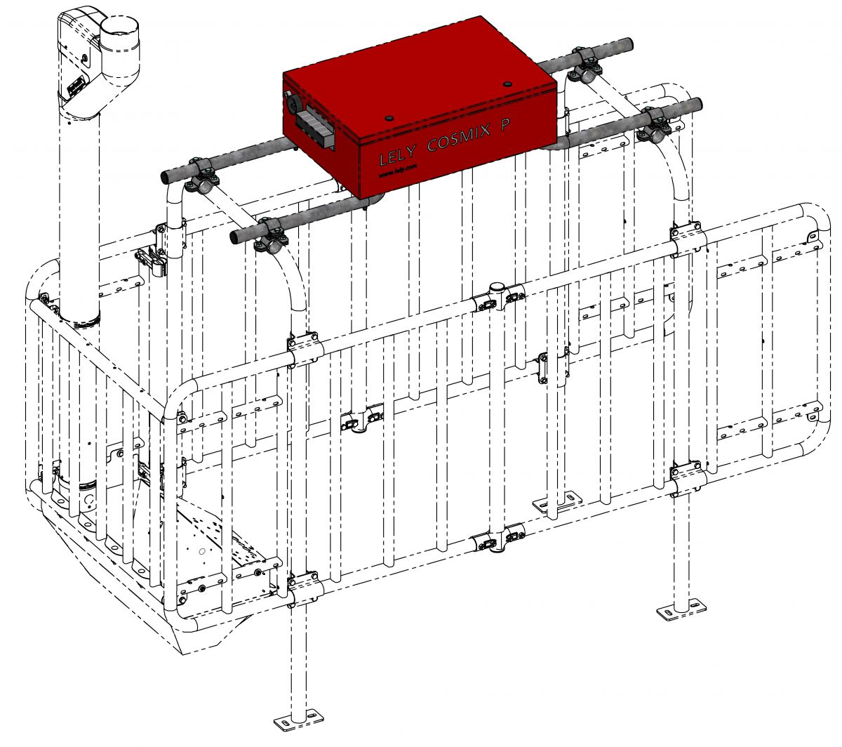 ensemble de montage identification lely au dessus de construction pour fswi et fswt