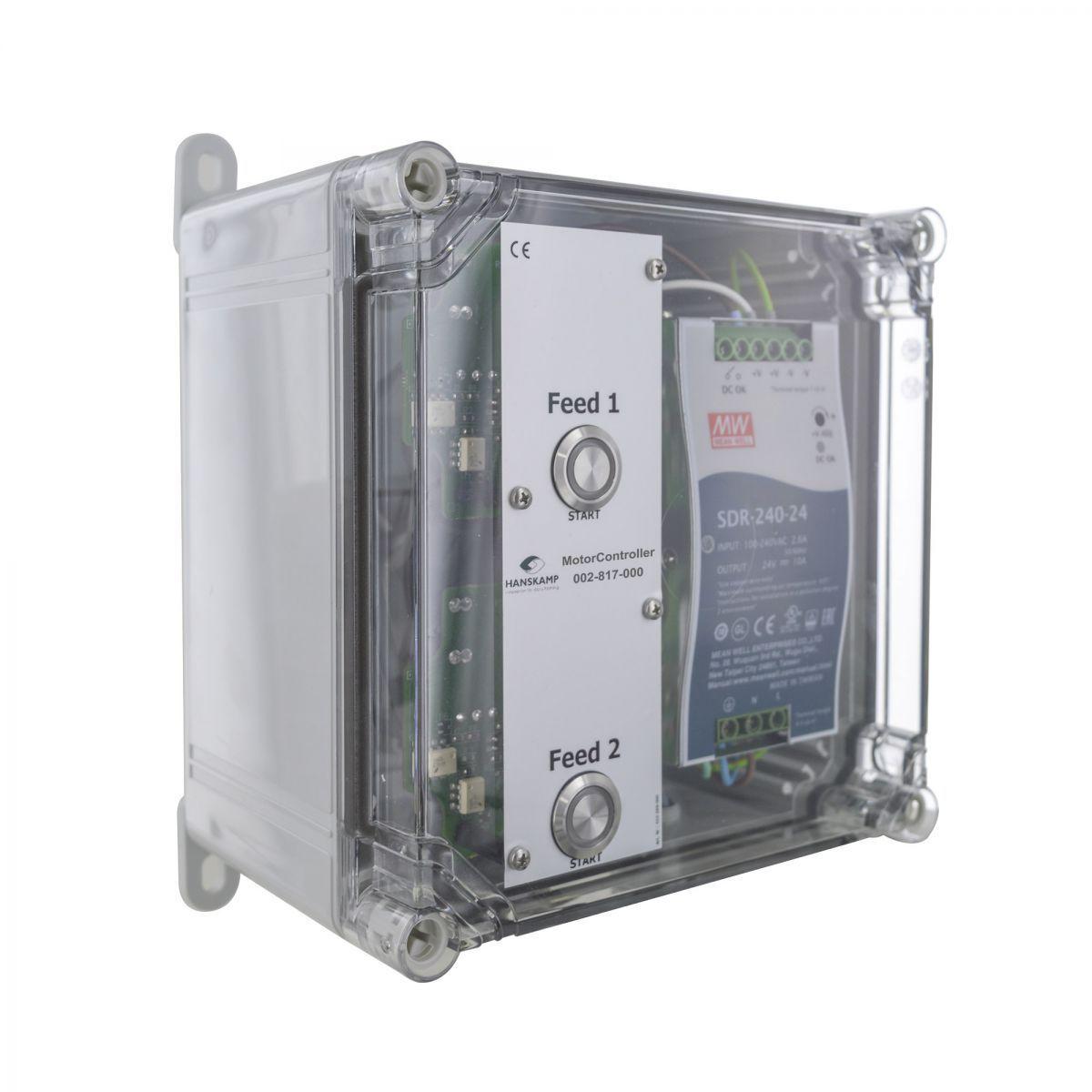 motorcontroller 2 futtersorten pipefeeder highspeed mit stromversorgung 24v dc 10a in gehuse