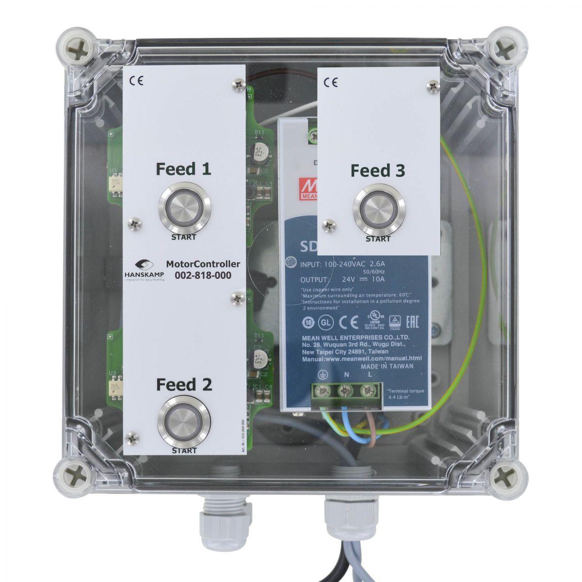 motorcontroller 3 futtersorten pipefeeder highspeed mit stromversorgung 24v dc 10a in gehuse