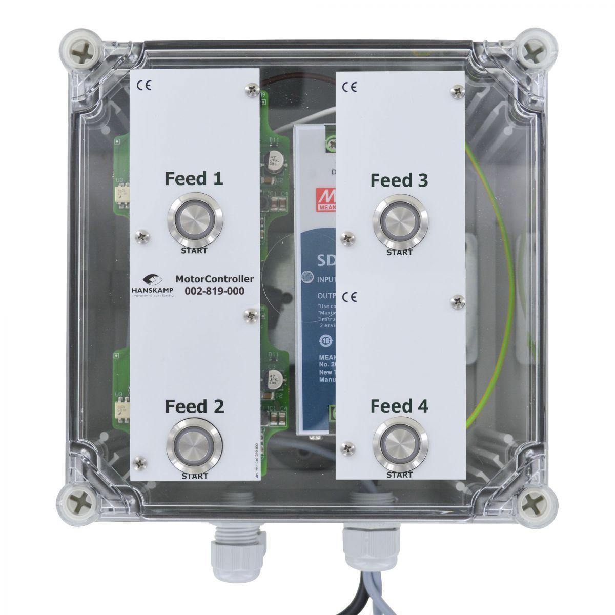motorcontroller 4 futtersorten pipefeeder highspeed mit stromversorgung 24v dc 10a in gehuse