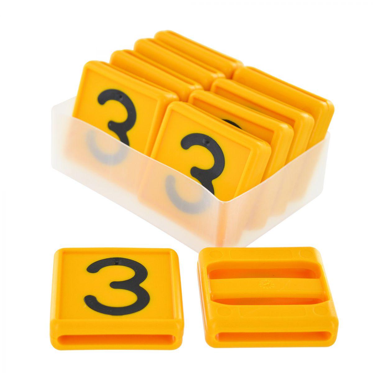 nummer 3 fr kuhhalsband 10 stck im karton gelb 48x46mm