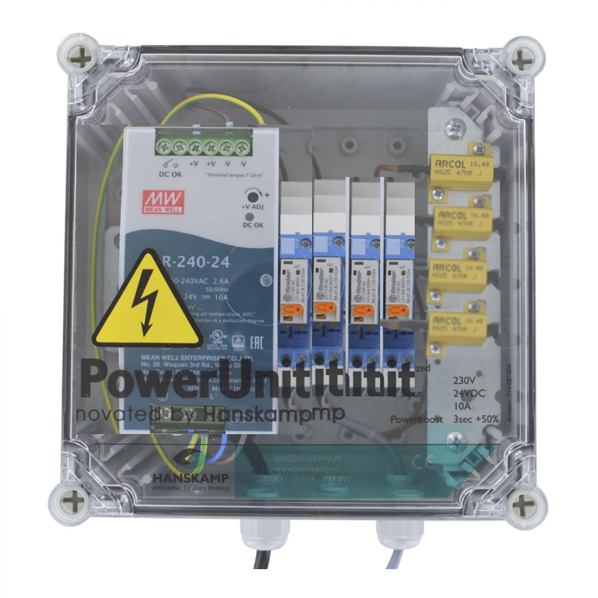 powerunit 24v dc 10a avec relais 115v et rsistance 4 aliments
