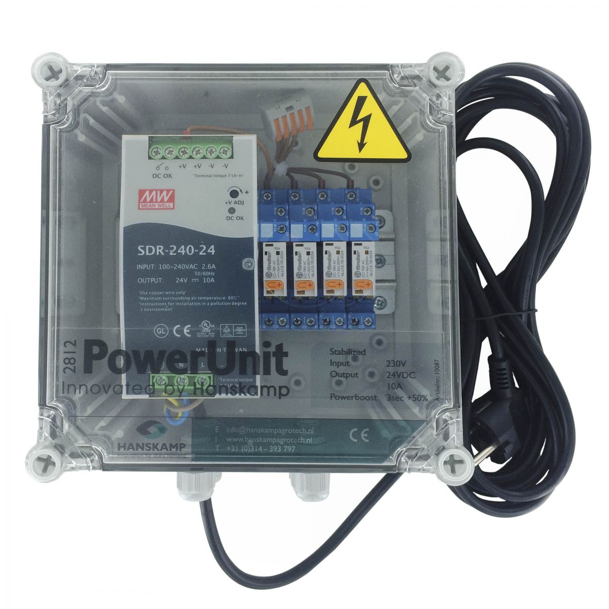 powerunit 24v dc 10a for lport with relay 115v 4 types of food