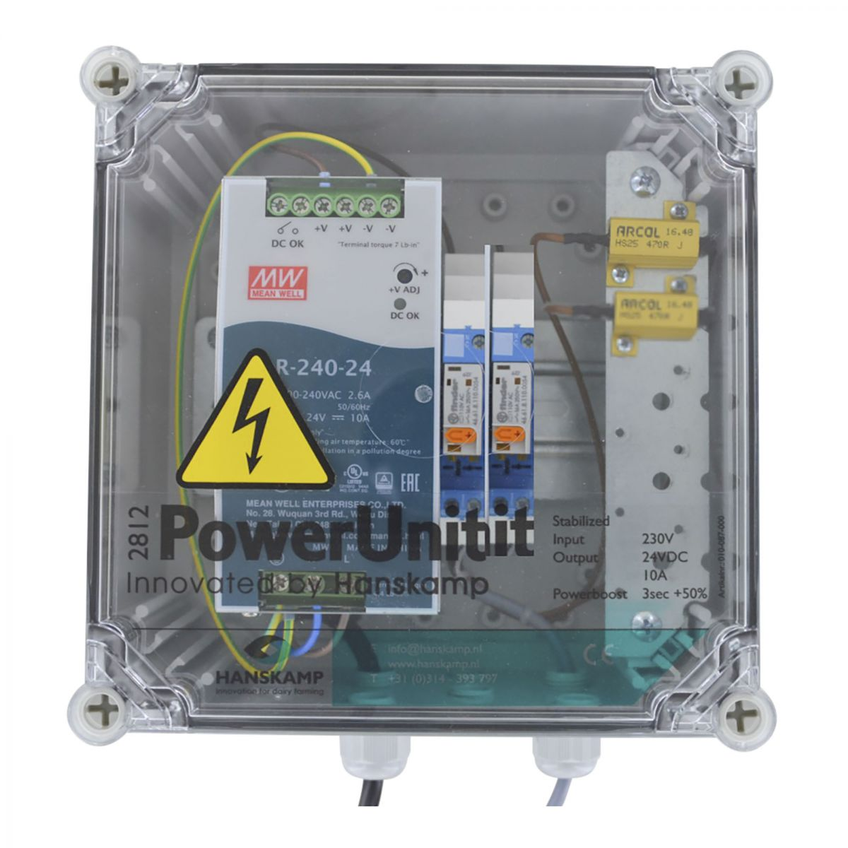 powerunit 24v dc 10a with relay 115v and resistor 2 types of food