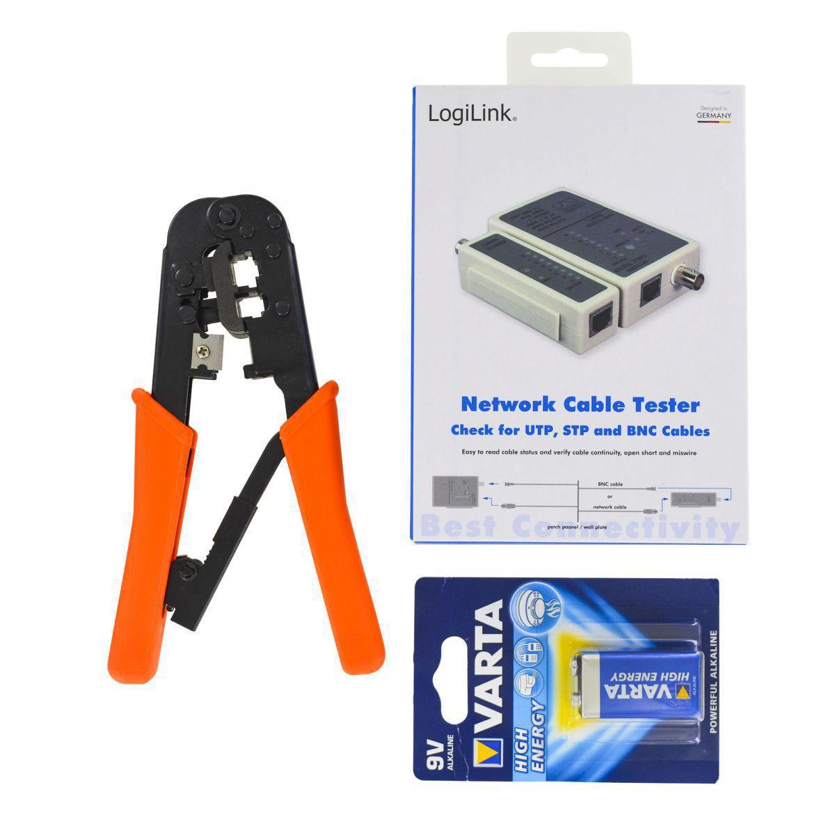satz zangen und tester um den stecker einzuschalten sfutp kabel