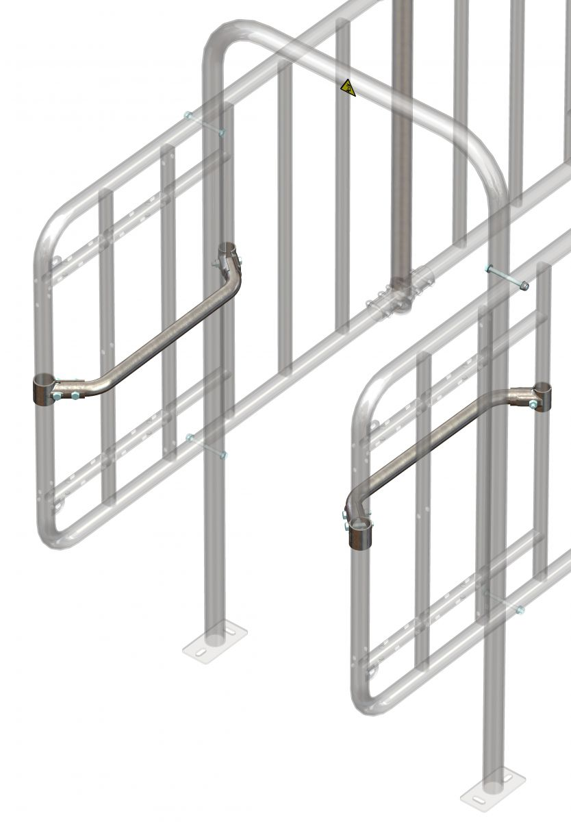 set with two narrowing brackets and clamps for feedstation
